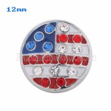 12mm Flag snaps Silver Plated avec émail et strass rouges KS5035-S snap jewelry