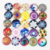 Trozos de broches de vidrio impresos 10pcs - Patrón de diseño de artes de tipos coloridos de MIX 25