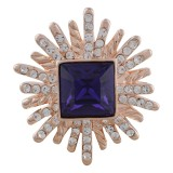 Diseño 20MM Chapado en oro rosa con diamantes de imitación morados KC5643 broches de joyería
