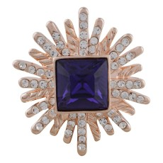 Conception 20MM plaqué or rose avec strass violet KC5643 snaps bijoux