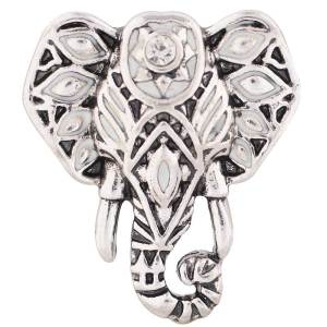 20MM Elephant snap Antique silver plated with Rhinestone and white Enamel KC7374 interchangeable snaps jewelry
