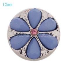 12MM bouton pression de fleur plaqué argent avec perles bleues et strass KS9663-S s'encliquette bijoux