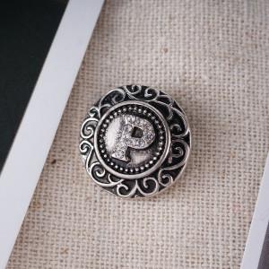 20MM английский алфавит-P оснастка Античное серебро, покрытое стразами KB6269 оснастки ювелирные изделия