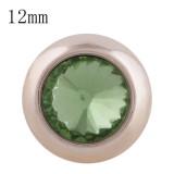12MM bouton pression rond en or rose avec strass vert KS9684-S s'encliquette des bijoux