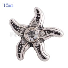 12MM Starfish snap Antique sliver Plated with white rhinestone KS8023-S snaps jewelry