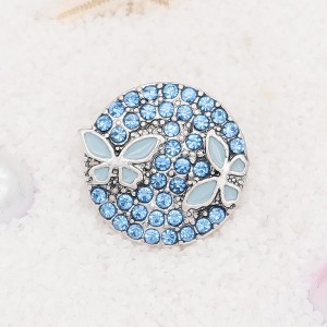 20MM  Butterfly snap Silver Plated with blue rhinestone and enamel KC7906 snaps jewelry
