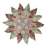 Snap design 20MM plaqué or rose avec strass multicolore Snaps KC7579 bijoux