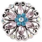 Diseño 20MM complemento chapado en plata antigua con diamantes de imitación multicolor KC8723 broches de joyería
