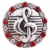 20MM note snap Chapado en plata antigua con diamantes de imitación rojos KC7436 joyería de broches intercambiables