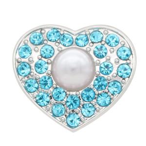 20MM в форме сердца серебро с голубыми стразами и жемчужные украшения