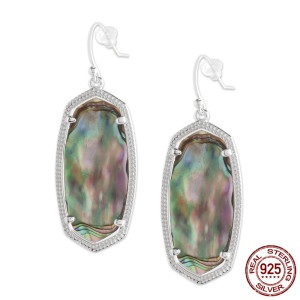 S925 Sterling Silver Kendra Scott style Elle Drop Earrings with abalone shell GM6003