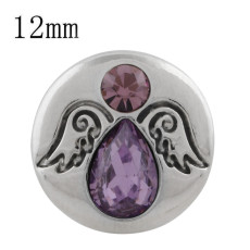 12MM wing snap silver plated with purple rhinestone KS5242-S snaps jewelry