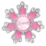 20MM bouton pression de fleur argenté avec strass rose et émail KC6916 s'encliquette bijoux