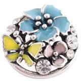 Broche de flores 20MM plateado con esmalte multicolor y diamantes de imitación KC8805 broches de joyería