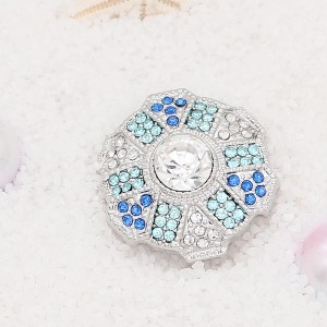20MM  design snap Silver Plated with blue rhinestone KC7904 snaps jewelry
