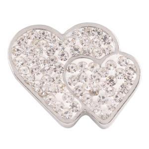 20mmバレンタインラブハートスナップとホワイトラインストーンKC4017スナップジュエリー