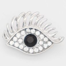 20MM eye snap Silver Plated with black rhinestone KC6879 snaps jewelry