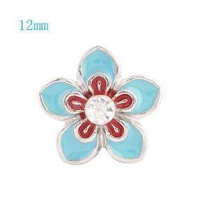 12MM Flower Snap Versilbert mit Strass und blauer Emaille KS6027-S Snaps Schmuck