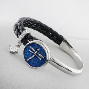 20MM Dragonfly snap Plateado con esmalte KB7715 azul