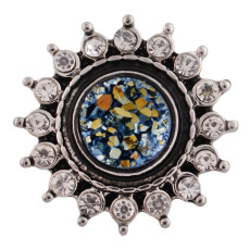 20MM design snap button Antique Silver Plated with Rhinestone and opal color beads KC9739 snap jewelry