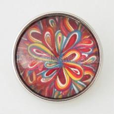 20MM Snap buntes Glas Dekoratives Muster KB2854-N austauschbare Snaps Schmuck