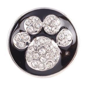 20MM Patas botón a presión Plateado plata antigua con joyería de diamantes de imitación negra
