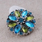 20MM snap silver Plated with blue Rhinestones KC7339 snaps jewelry