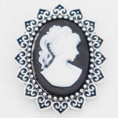 20MM lady snap Argenté avec résine blanche KC6883 s'encliquette bijoux