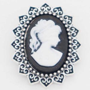 20MM lady snap Plateado con resina blanca KC6883 broches de joyería