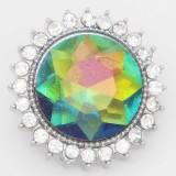 Diseño 20MM snap plateado con diamantes de imitación KC6869 opal green