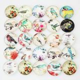 10pcs trozos de vidrio impreso trozos-Bird MIX 25 tipos patrón de diseño artístico