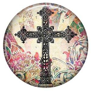 20MM cross Painted enamel metal C5846 print snaps jewelry