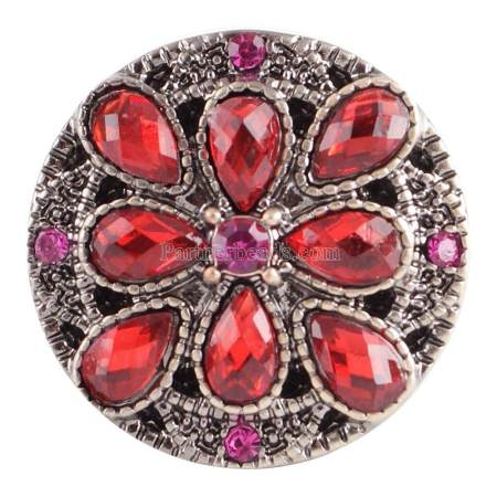 20MM Flower round snap Antique copper plated KC5030 with red Rhinestone interchangeable snaps jewelry
