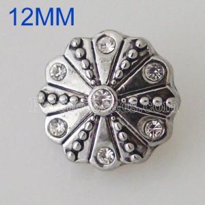 12MM Roud snap Plateado con diamantes de imitación KB5529-S broches de joyería