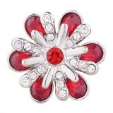 20MM design bouton pression argenté avec strass rouge KC5503 s'encliquette bijoux