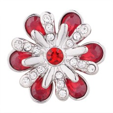 20MM design snap silver plated with red Rhinestone KC5503 snaps jewelry