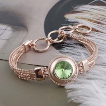20MM round snap rose-gold Plated with green Rhinestone KC9765 snaps jewelry