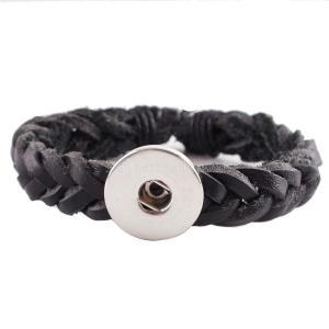 Les boutons 1 Les bracelets KC0233 en cuir noir tressés conviennent aux 20mm