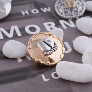 20MM snap Footprint Chapado en oro KC5116 con diamantes de imitación intercambiables joyería de broches