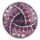 20MM Round snap Antique Silver Plated with rose-red rhinestones KC6018 snaps jewelry