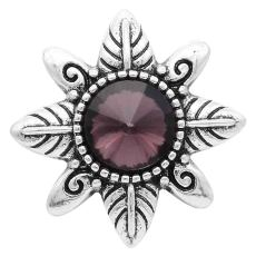 20MM design snap Silver Plated with purple Rhinestones KC6572 snaps jewelry
