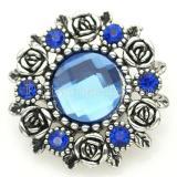 Broche de flores 20MM Plateado plata antigua con cristal de sección azul oscuro KB8918 broches de joyería
