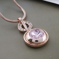 20MM round snap Rose-Gold Plated with pink Rhinestone KC9767 snaps jewelry