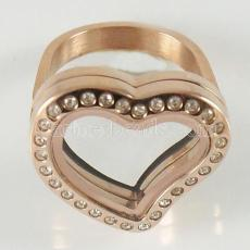 Stainless Steel RING  Mix6-10# size  with Dia 20mm heart floating charm locket rose gold color