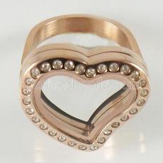 ANILLO de acero inoxidable Mix6-10 # tamaño con medallón de corazón flotante Diámetro 20mm color oro rosa