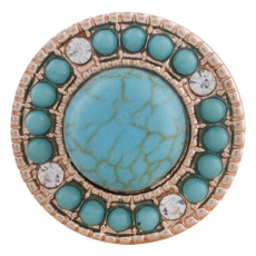 20MM round Rose Gold Plated with cyan Turquoise and rhinestone KC7536 cyan