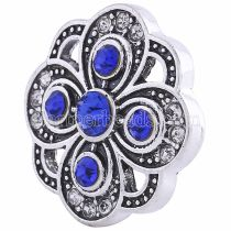 20MM Цветочная оснастка Античное серебро с глубоким синим и прозрачным стразами KC6065 оснастка ювелирные изделия
