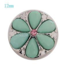 12MM bouton-pression en plaqué argent avec perles vertes et strass KS9665-S s'enclenche les bijoux