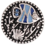 20MM Tropical Fish Snap Antik Silber vergoldet mit Strass und blauem Emaille KC7372 austauschbaren Snaps Schmuck