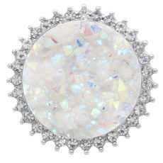 25MM Artificial Crystal opal white  snap Silver Plated with Rhinestone KC7968